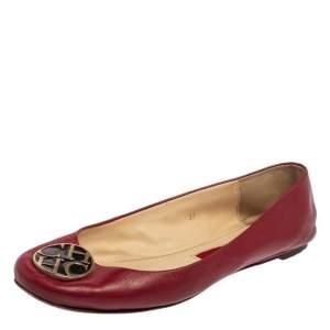Carolina Herrera Red Leather Logo Ballet Flats Size 37