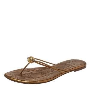 Carolina Herrera Metallic Bronze Leather Embellished Thong Flats Size 39
