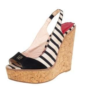 Carolina Herrera Black/White Fabric And Suede Cork Wedge Platform Peep Toe Slingback Sandals Size 38