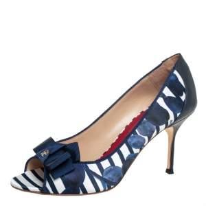 Carolina Herrera Blue/White Satin And Leather Bow Peep Toe Pumps Size 38