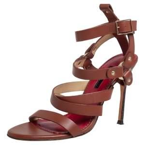 Caroline Herrera Brown Leather Ankle Strap Sandals Size 37