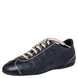 حذاء رياضي كارولينا هيريرا جلد منقوش مونوغرامي أزرق عنق منخفض مقاس 37