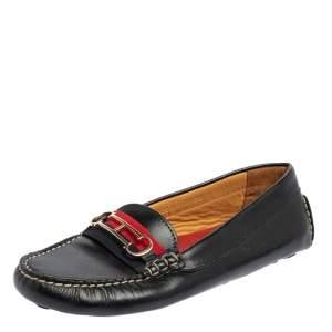 Carolina Herrera Black Leather Slip On  Loafers Size 38