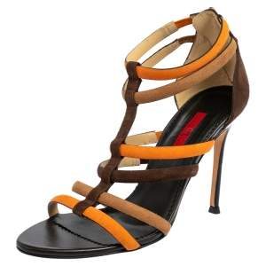 Carolina Herrera Brown/Orange Suede Strappy Sandals Size 37