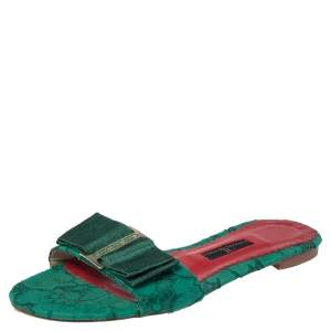Carolina Herrera Green Lace Bow Detail Flat Slides Size 37