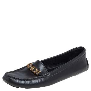 Carolina Herrera Black Leather Logo Detail Slip On Loafers Size 38