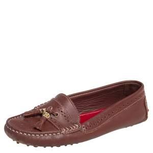 Carolina Herrera Brown Leather Brogue Detail Tassel Embellished Loafers Size 38
