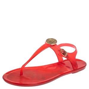 Carolina Herrera Red Rubber Logo Thong Flat Sandals Size 38