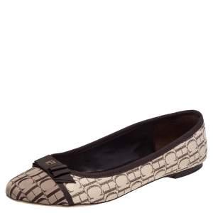 Carolina Herrera Brown/Beige Monogram Canvas Bow Cap Toe Ballet Flats Size 39