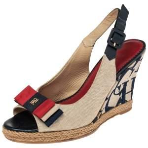 Carolina Herrera Beige Canvas Wedge Platform Espadrille Slingback Sandals Size 37
