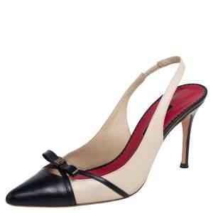 Carolina Herrera Beige/Black Leather Bow Pointed Toe Slingback Pumps Size 39