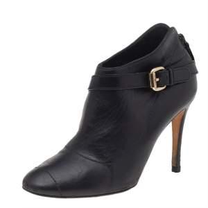 Carolina Herrera Black Leather Ankle Length Boots Size 38