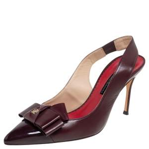 Carolina Herrera Burgundy Leather Bow Detail Slingback Sandals Size 38