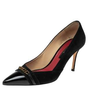 Carolina Herrera Black Suede And Patent Leather Cap Pointed Toe Pumps Size 40