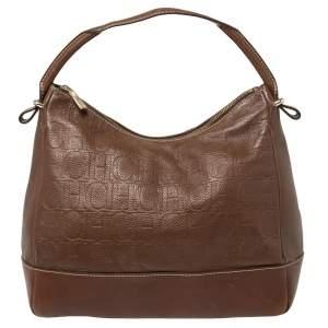 Carolina Herrera Brown Monogram Embossed Leather Hobo