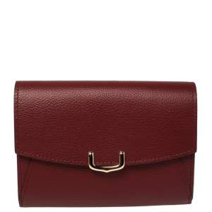 Cartier Dark Red Leather C De Cartier Compact Wallet