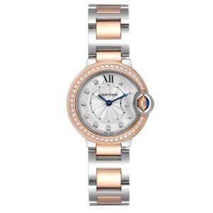 Cartier Silver Diamonds 18K Rose Gold And Stainless Steel Ballon Blue W3BB0009 Women's Wristwatch 28 MM