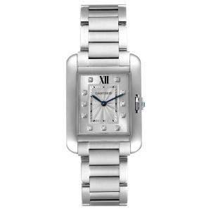 Cartier Silver Diamonds Stainless Steel Tank Anglaise W4TA0004 Women's Wristwatch 34 x 26 MM