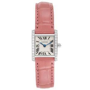 Cartier Silver Diamonds 18K White Gold Tank Francaise WE100251 Women's Wristwatch 20 MM