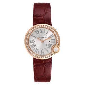 Cartier Silver Diamonds 18K Rose Gold Ballon Blanc WJBL0005 Women's Wristwatch 30 MM