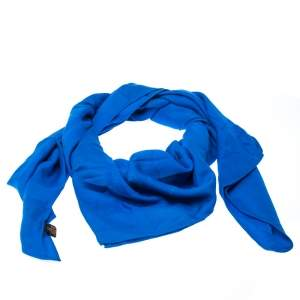 Must De Cartier Blue Panthere Monogram Wool and Silk Blend Square Scarf