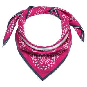 Cartier Pink Geometric Panther Motif Print Silk Square Scarf
