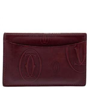Cartier Red Glazed Leather Happy Birthday Single Card Holder