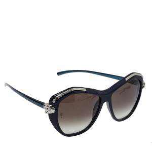 Cartier Navy Blue/ Dark Grey Gradient Panthere Wild De Cartier Geometric Sunglasses