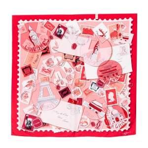 وشاح كارتييه حرير مربع مطبوع أختام وترافل أحمر