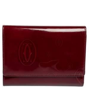 Cartier Burgundy Patent Leather Happy Birthday Passport Holder