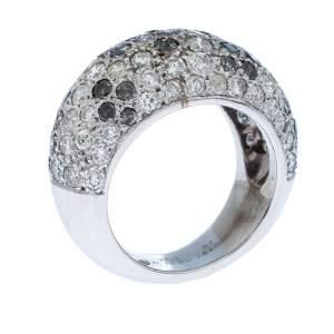 Cartier Black & White Diamonds 18k White Gold Pave Band Ring Size 51