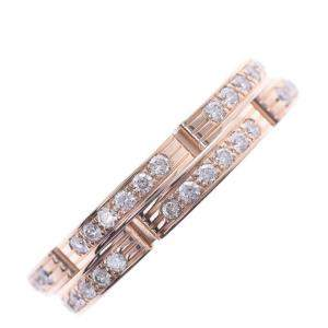 Cartier Maillon Panthere Wedding Band 18K Rose Gold Diamond Ring Size 48