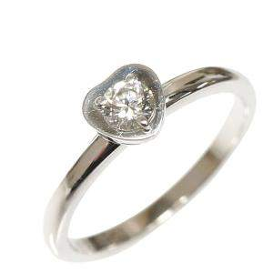 Cartier Diamants Legers Heart Diamond Solitaire 18K White Gold Ring Size 49