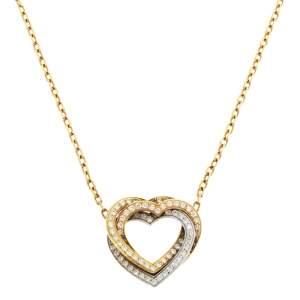 Cartier Trinity de Cartier Diamond Heart 18K Three Tone Gold Necklace