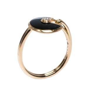 Cartier Amulette de Cartier Onyx Diamond 18K Rose Gold Ring Size 53