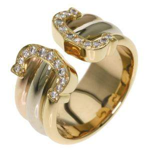 Cartier Double C Vintage Diamond 18K Yellow Gold, 18K White Gold, 18K Rose Gold Ring Size 49