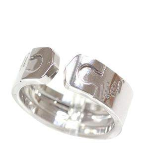 Cartier Double C Vintage Christmas Edition 18K White Gold Ring Size 50