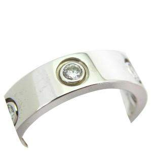 Cartier Love 6 Diamond 18K White Gold Ring Size 56