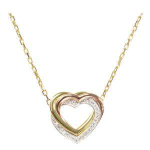Cartier Trinity Heart Diamond 18K Yellow Gold 18K White Gold 18K Rose Gold Pendant Necklace