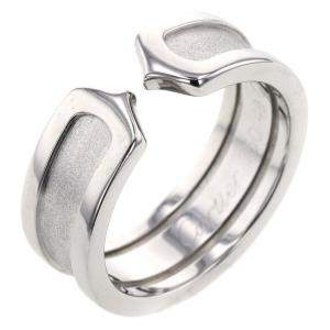 Cartier Double C de Cartier 18K White Gold Ring Size 49