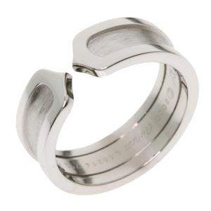 Cartier Double C de Cartier 18K White Gold Ring Size 53