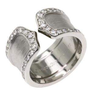 Cartier Double C de Cartier 18K White Gold Diamond Ring Size 48