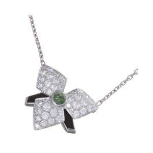Cartier Black/Green Onyx Diamond 18K White Gold Necklace