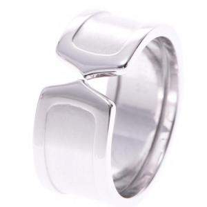 Cartier Double C de Carttier Vintage 18K White Gold Wide Band Ring Size 58