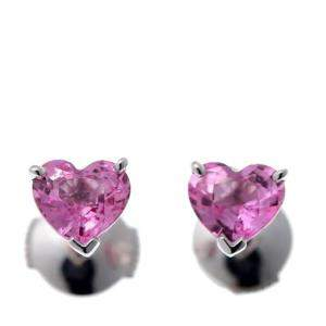 Cartier Heart Shape Pink Sapphire 18K Whie Gold Earrings