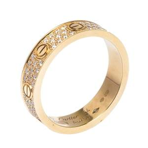 Cartier Love Diamond 18K Rose Gold Wedding Band Ring EU 54