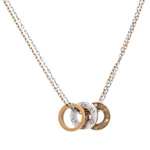 Cartier Love 6 Diamonds 18K Two Tone Gold 3 Circular Charm Necklace
