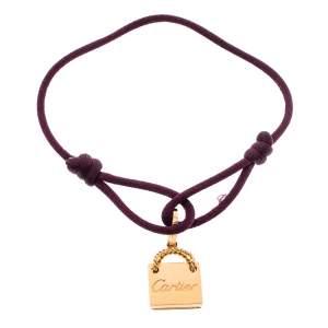 Cartier Shopping Bag Charm 18K Rose Gold Adjustable Cord Bracelet