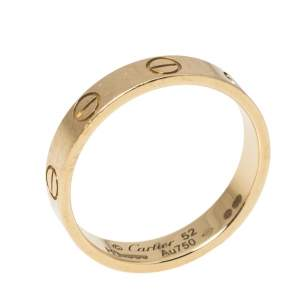 Cartier Love 18K Yellow Gold Narrow Wedding Band Ring Size 52