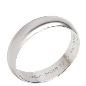Cartier 1895 Wedding Band Platinum Ring Size 57